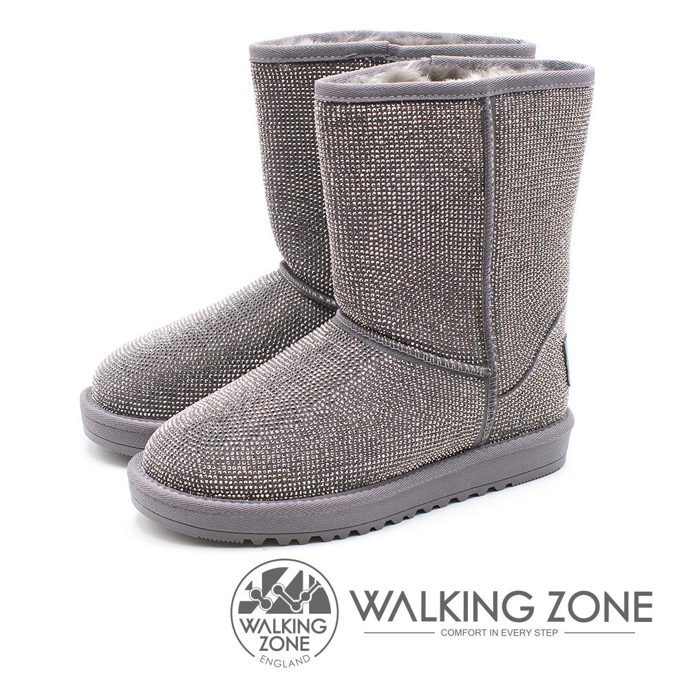 WALKING ZONE 滿版水鑽內鋪毛雪靴 女鞋 - 灰(另有黑)