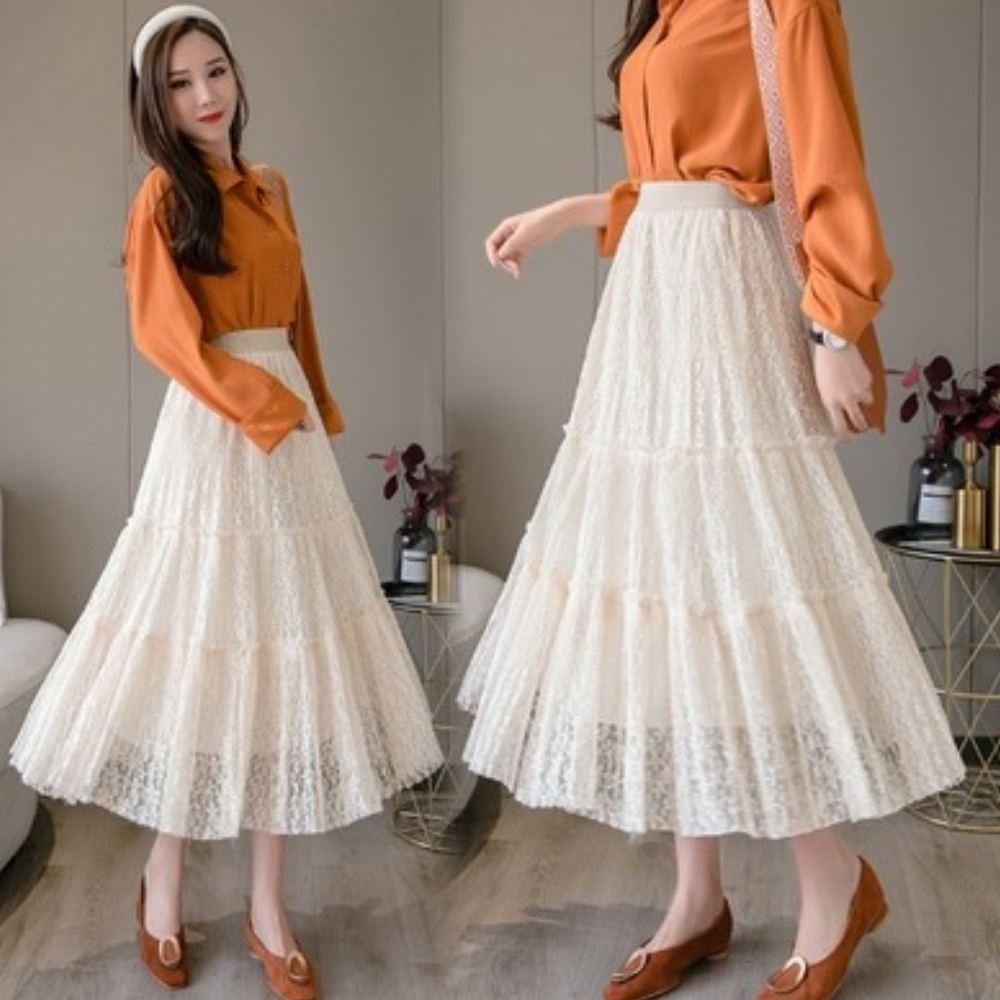 La Belleza鬆緊腰小花朵刻花蛋糕裙蕾絲拼接雪紡百摺網紗長裙