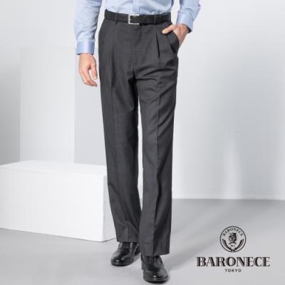 BARONECE 百諾禮士休閒商務  男裝 伸縮調節腰頭雙褶西裝褲-深灰色(1198811-95)
