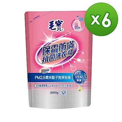 毛寶 除霉防蹣PM2.5洗衣精2KG(補)x6入/箱