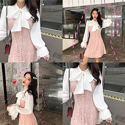 DABI 韓國小香風系帶蝴蝶結蕾絲拼接長袖洋裝