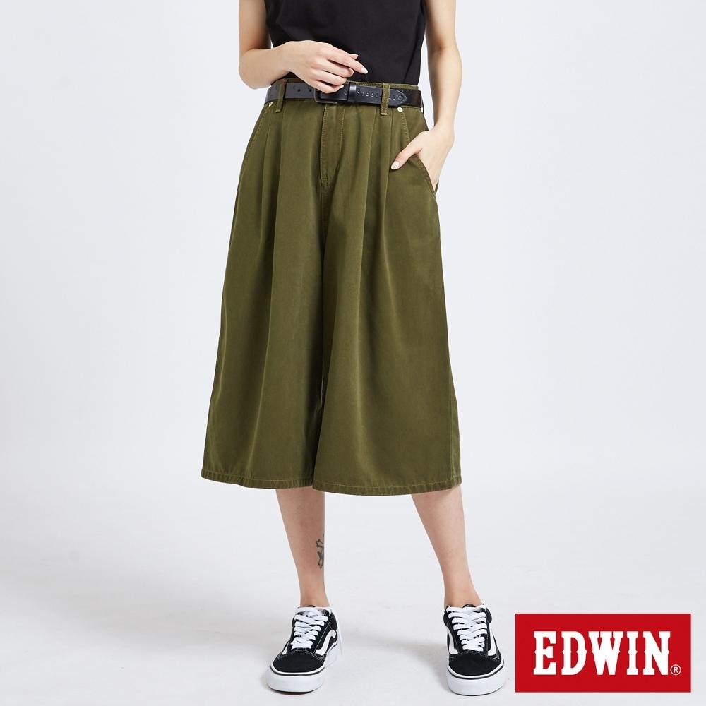 EDWIN MISS 503 休閒舒適 打摺牛仔寬褲-女-橄欖綠