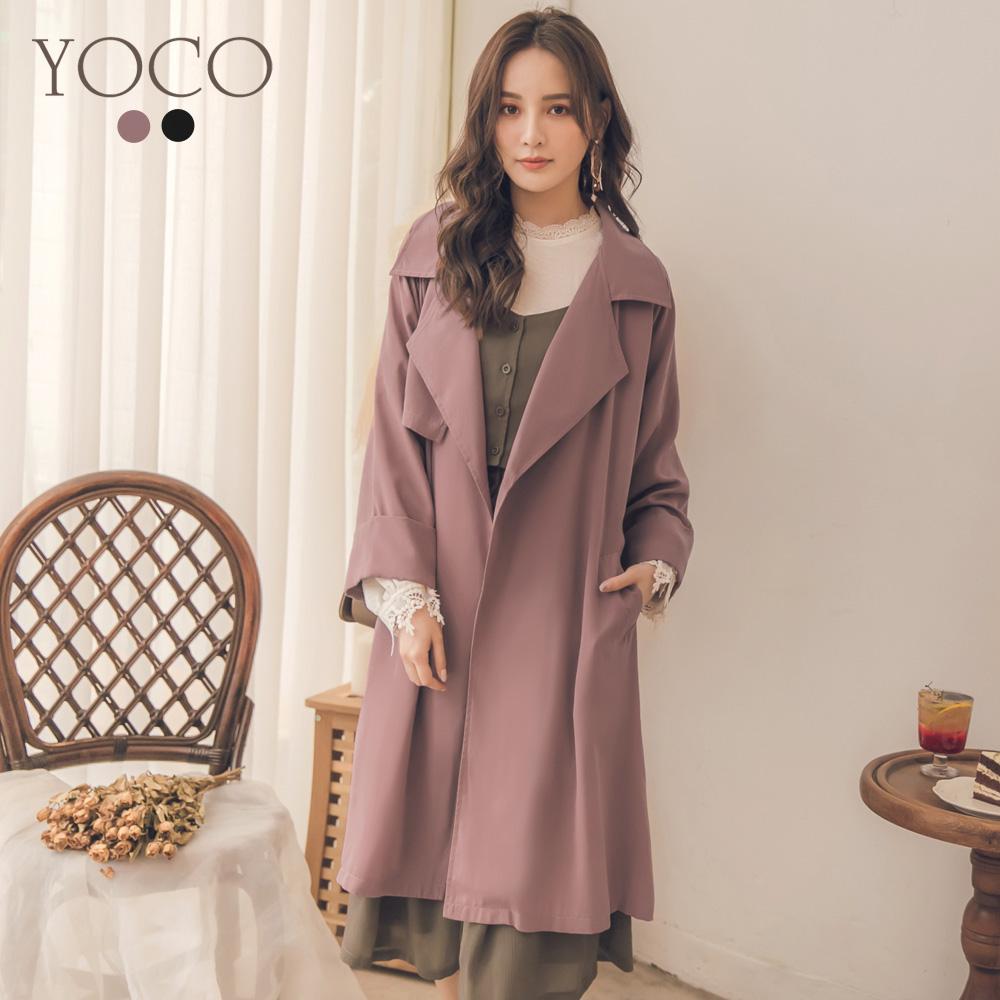 東京著衣-yoco 美型百搭法式感垂墜感風衣外套-S.M.L(共二色)