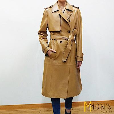 MONS 100%羊皮收腰風衣大衣/外套/皮衣