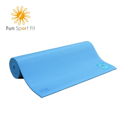 FunSport yoga-小秘境瑜珈墊-天使藍(6mm)-卡蜜拉束背帶 (PER材質)