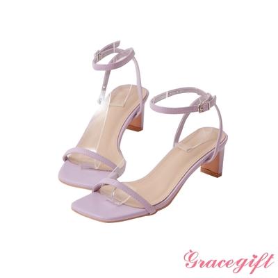 Grace gift-一字繫踝中跟涼鞋 紫