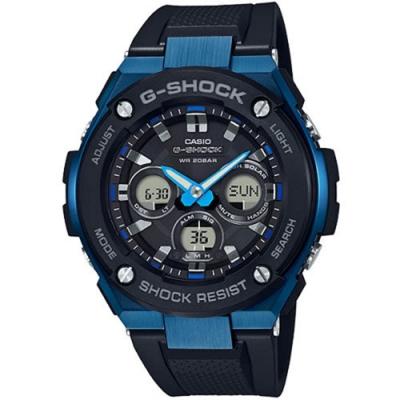 CASIO卡西歐G-SHOCK太陽能 G-STEEL系列強悍雙顯錶-藍(GST-S300G-1A2)