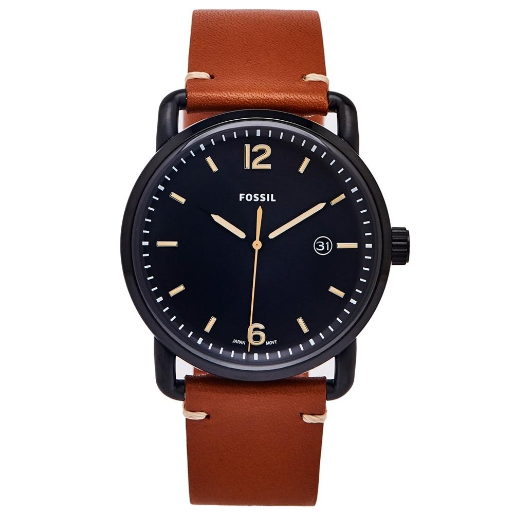 FOSSIL 簡約個性風的皮革手錶(FS5276)-黑色面x咖啡色/42mm