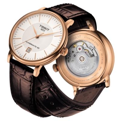 TISSOT天梭 CARSON 經典紳士機械手錶(T1224073603100)