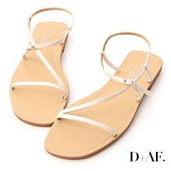 D+AF 涼夏清新.簡約細帶平底涼鞋*白