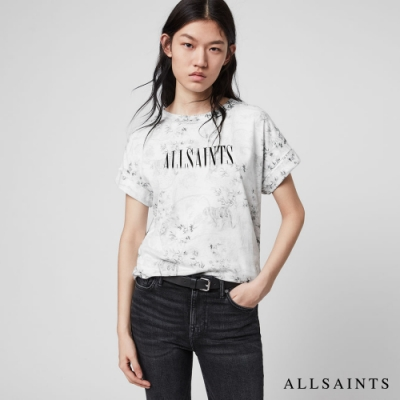 ALLSAINTS STRENGTH 動物印花X品牌標寬鬆純棉短袖T恤-白