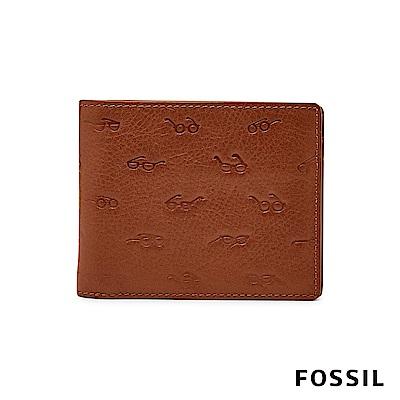 FOSSIL SIMON 文青眼鏡壓紋證件兩折短夾-咖啡