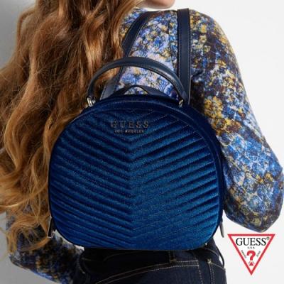 GUESS-女包-天鵝絨雙肩後背包-藍