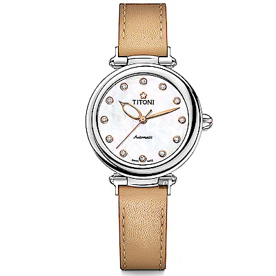 TITONI 梅花錶 炫美時尚之約械錶女錶-珍珠貝x卡其錶帶/33.5mm