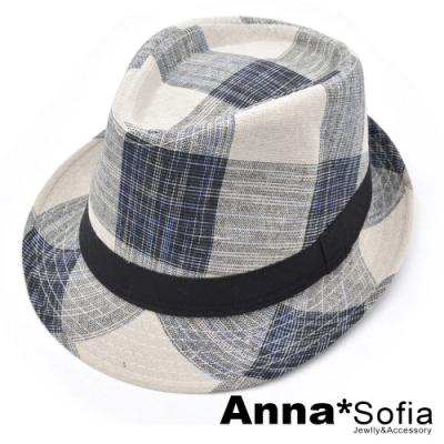 【2件75折】AnnaSofia 文青風格紋 混棉紳士帽爵士帽禮帽(米底系)