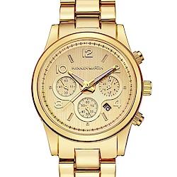 HANNAH MARTIN 絢麗盛世裝飾三眼腕錶-金x38mm(HM-1038-J)