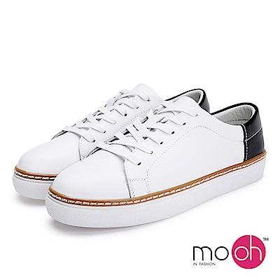 mo.oh-拚色綁帶厚底休閒鞋-黑白色