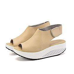 韓國KW美鞋館 真皮美體勁透塑身系列健走涼鞋-米白色