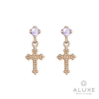 ALUXE 亞立詩 10K 丹泉石十字架耳環