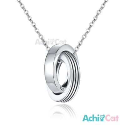 AchiCat情侶雙圈項鍊925純銀項鏈愛戀相依/單鍊