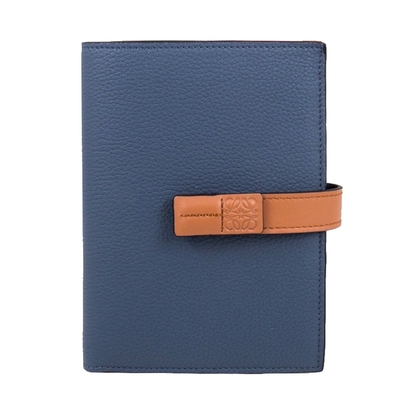 Loewe 拼色中夾 (藍色 x 棕褐色) Medium vertical wallet