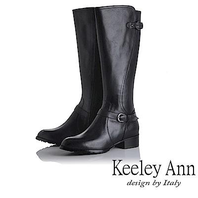 Keeley Ann 騎士風格~MIT雙釦帶全真皮質感長靴(黑色)