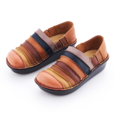 G.Ms. MIT系列-彩虹條紋拼接全牛皮厚底懶人鞋-橘色