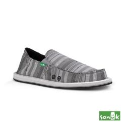 SANUK 男款 US8 復古牛仔條紋懶人鞋(灰色)