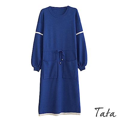撞色繫帶針織洋裝 共二色 TATA