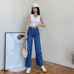 街頭顯瘦高腰直筒寬鬆牛仔褲S-XL(共三色)-WHATDAY