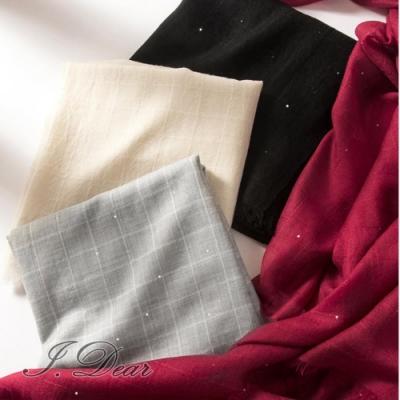 I.Dear-200支紗水溶純羊毛珠片紗格子加大款圍巾披肩(4色)