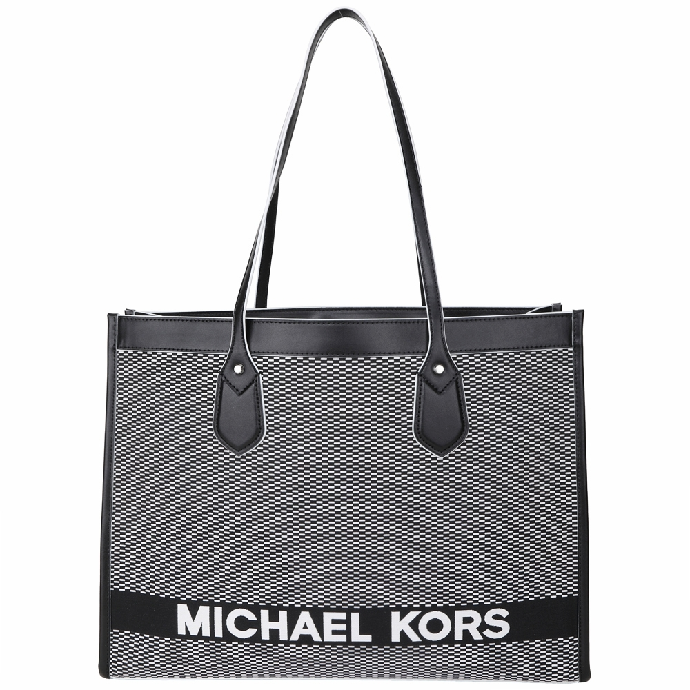 Michael Kors Bay 大款  雙色編織帆布拼接牛皮托特包(黑白色)