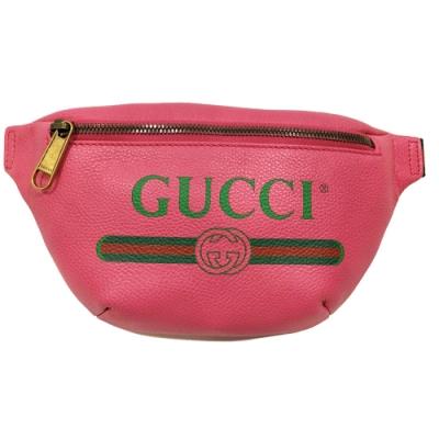 GUCCI  復古風格的圖案小牛皮綠紅綠織帶腰包/斜背包(桃紅色)