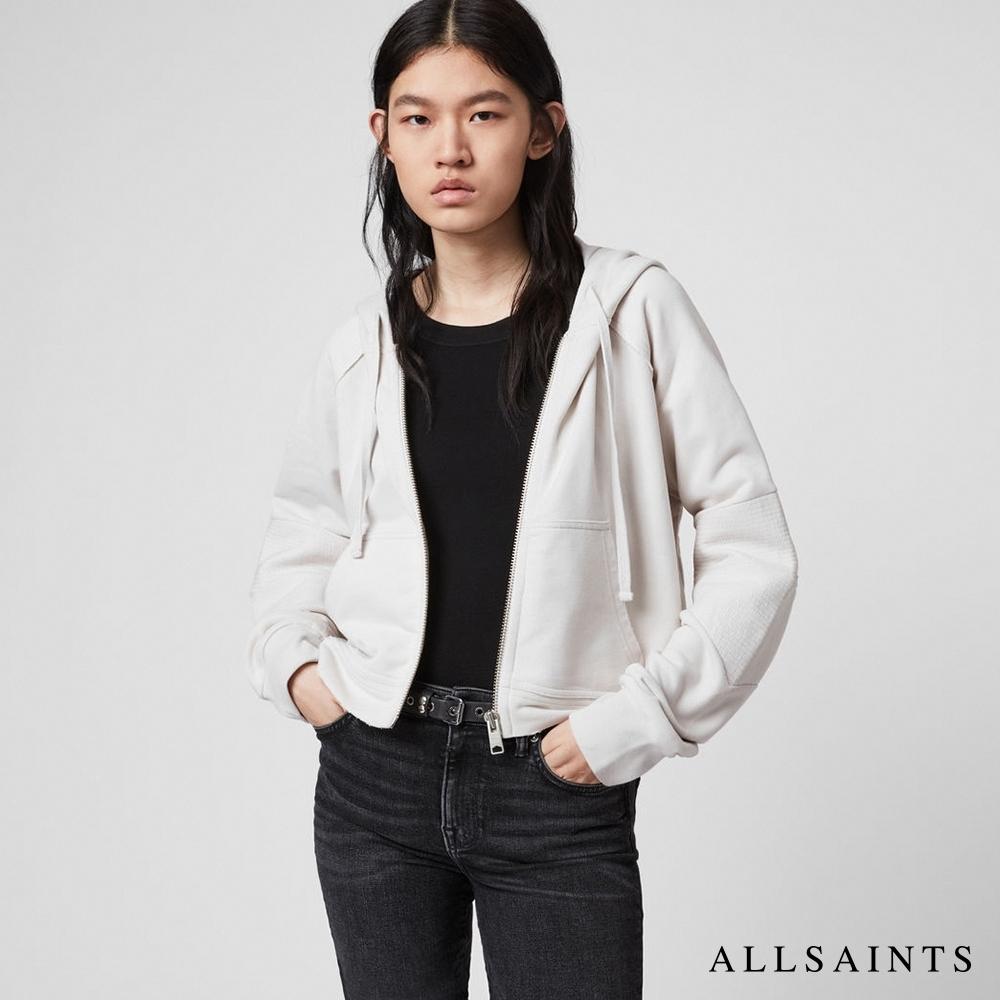ALLSAINTS JESSI 超性格不收邊休閒寬版純棉帽T外套-象牙白