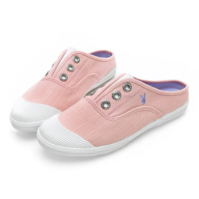 PLAYBOY 百搭首選穆勒帆布鞋-粉-Y520999