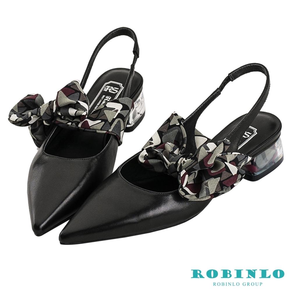 Robinlo春日花漾尖頭緞帶果凍低跟涼鞋 黑色