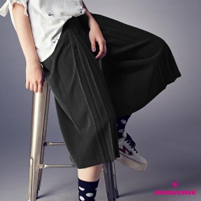 【SHOWCASE】雪紡打褶鬆緊腰寬褲-黑