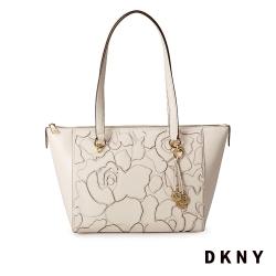 DKNY 抽象蝴蝶印花時尚托特包 白