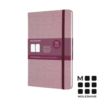 MOLESKINE 織布系列魚骨紋筆記本-點線紫