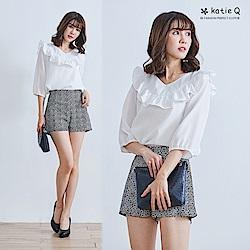KT 荷葉領雪紡上衣-白/黃