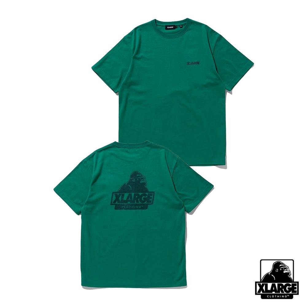 XLARGE S/S TEE BACKSIDE SLANTED OG刺繡LOGO短T-綠