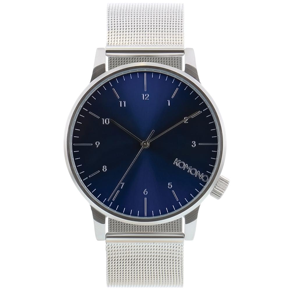 KOMONO Winston Royale 腕錶-太空銀x藍/41mm
