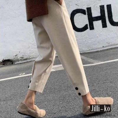 JILLI-KO 加厚九分小腳蘿蔔褲-杏色