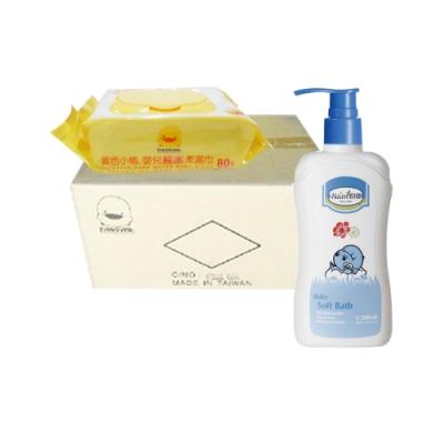 黃色小鴨盒蓋嬰兒純水柔濕巾(80抽*24包/箱)+貝恩Baan 嬰兒沐浴精/200m*1