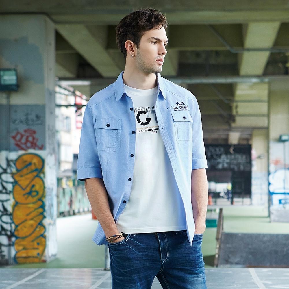 BIG TRAIN 加大素色牛津五分袖襯衫-男-淺藍