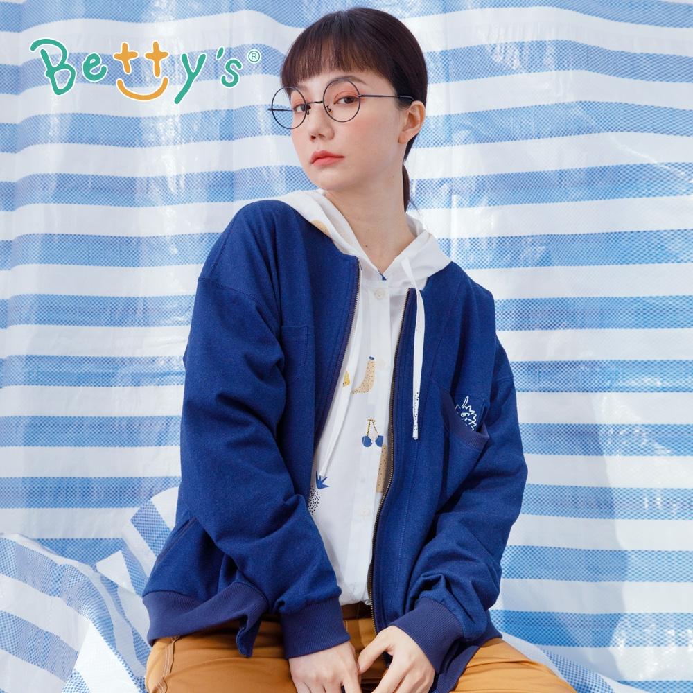 betty's貝蒂思 圓領落肩羅紋外套(深藍)
