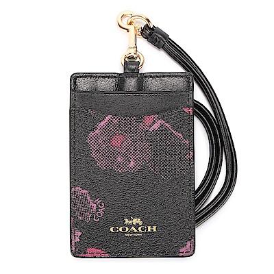 COACH 渲染花卉圖案防刮皮革掛式證件夾-粉紅/黑色