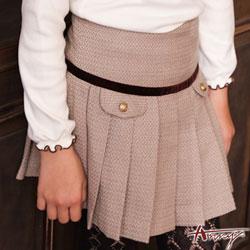 Annys學院高級金釦造型口袋百褶短裙*6272卡其