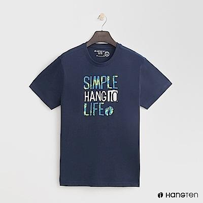 Hang Ten - 男裝 - 有機棉-簡單樂活圓領T恤 - 藍