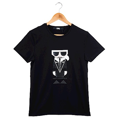 KARL LAGERFELD 黑色Q版卡爾短T恤 (黑色)